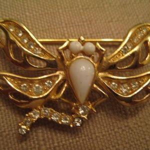 Givenchy Rhinestone Gold Tone Dragonfly Brooch